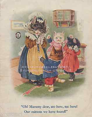 Mittens-Mammy-Three Little Kittens-ANTIQUE Vintage COLOR PRINT-Kids Room Picture