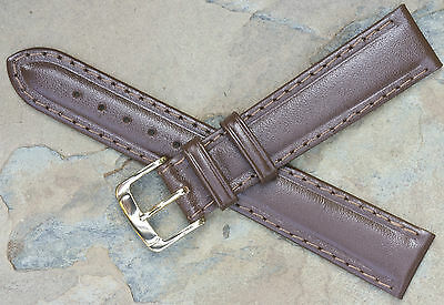 Vintage 18mm watch band dark brown leather water-resistant strap by Speidel USA