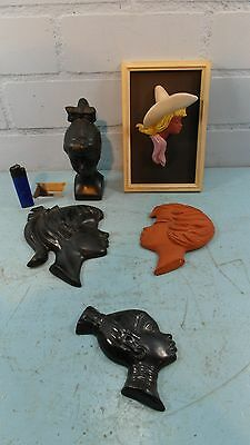 UNIQUE 5 PCS 1960S JEMA POTTERY GIRLS HEADS WALL PLAQUE'S