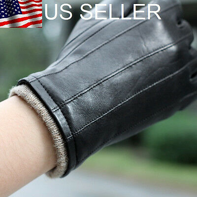 Stylish Men's Genuine Lambskin Leather Gloves Black