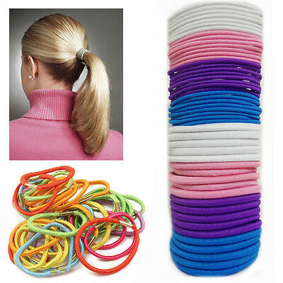 45pc Hair Bobbles Elastic Bands Thin Tie Ponytail Rubber Styling Hairbands Pack