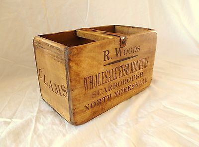 Vintage antiqued wooden box, crate, trug, SCARBOROUGH FISH BOX