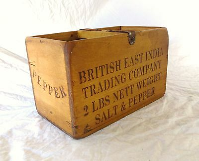 Vintage antiqued wooden box, crate, trug, BRITISH EAST INDIA SALT & PEPPER
