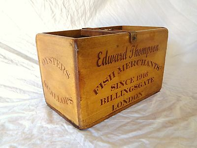 Vintage antiqued wooden box, crate, trug, Billingsgate Market Fish Box