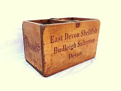 Vintage antiqued wooden box, crate, trug, BUDLIEGH SALTERDON DEVON BOX