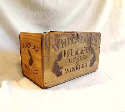 Vintage antiqued wooden box, crate, trug, WHITSTABLE FISH MARKET