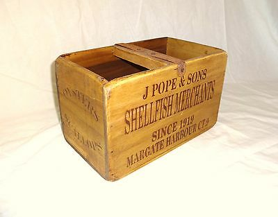 Vintage antiqued wooden box, crate, trug, MARGATE FISHERIES FISH BOX