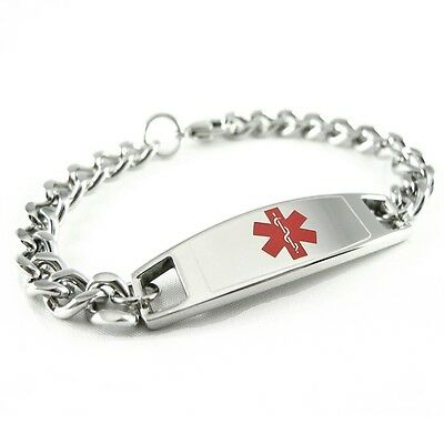 Medical Alert ID Bracelet, Custom Engraved Tag, Curb Chain Red i4C-BS1