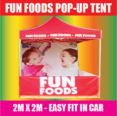 FUN FOOD TENT *POPUP 2x2m in RED*SNO CONE, POPCORN, FAIRY FLOSS MACHINE FOODS