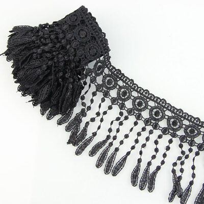 3 Yards Fabric Black Venise Lace Fringe Emebellishment Sewing Trims Craft