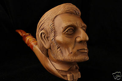 President Abraham Lincoln Hand Carved Block Meerschaum Pipe in a fit CASE 5139