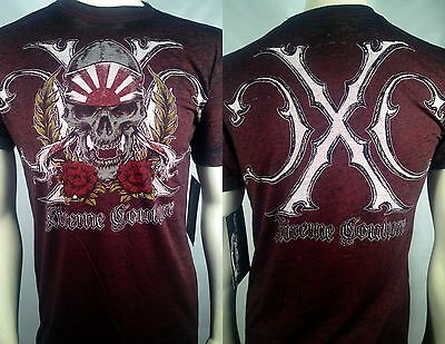 $30 Xtreme Couture Affliction Samurai Skull Fighter Burnout Mma Mens T Shirt S