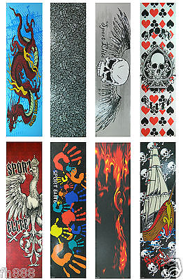"""Graphic Skateboard Grip Tape  9"""" x 33"""" Multiple Graphics to Choose"""