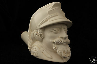 French Soldier Hand Carved Block Meerschaum Pipe in a fitted CASE 5246 pipa NEW