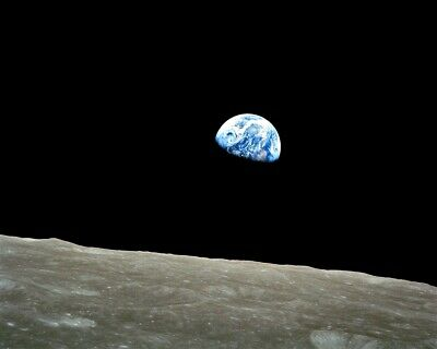 New 8x10 Photo: Earthrise from the Far Side of the Moon, Apollo 8 Lunar Mission