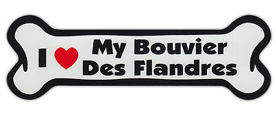 Dog Bone Shaped Car Magnets: I LOVE MY BOUVIER DES FLANDRES
