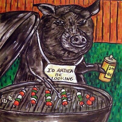 Pig art ceramic TILE coaster abstract folk pop art JSCHMETZ pet  cook out