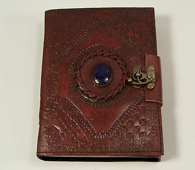 Gods eye stone Embossed Leather Blank Journal Diary 5 x 7 Hand Made Paper Lock