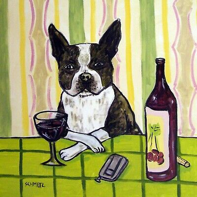 boston terrier wine bar ceramic dog art tile coaster gift
