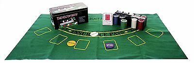 Texas Hold'em Poker Set Professional Casino Game Cards And Chips With Game Mat