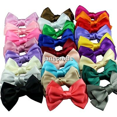 "1pcs 4"" Big Boutique Women's Girl's Satin Ribbon Hair Bow Hair Clips Hairpin lot"