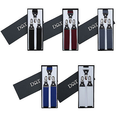 DQT Premium Plain Men's Adjsutable Braces Perfect for Formal or Casual Events