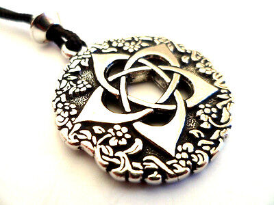 Pentacle of the Goddess Pewter Pendant, Honor the Earth Mother. Large