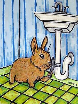 BUNNY painting rabbit folk art PRINt pop art 8x10 JSCHMETZ PLUMBER abstract
