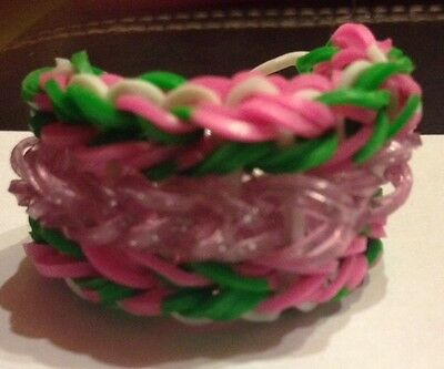 Rainbow Loom Double Triple Bracelet-Custom Made-You Pick Colors-Free Shipping