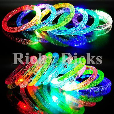 100 PCS Light-Up Acrylic Bracelets Wristbands LED Flashing Glow Rave EDC Plastic