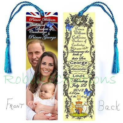Baby GEORGE PRINCE WILLIAM BOOKMARK w/Tassel Kate Royal Birth Announcement Card