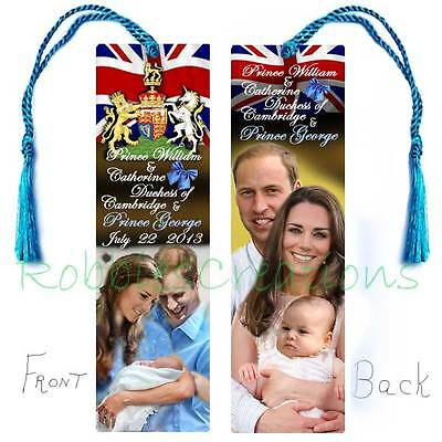 Baby GEORGE PRINCE WILLIAM BOOKMARK w/Tassel Royal Birth Announcement Card Kate