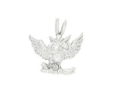 Silver 3D Large Landing Owl Charm Or Pendant