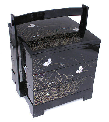 Japanese Lacquer Stack Lunch Bento Box 3-Tiers Black Butterfly, Made in Japan