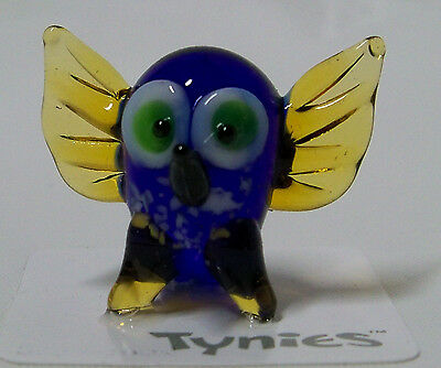 WHO OWL Bird blue TYNIES Tiny Glass Figure Figurines Collectibles 0018 NEW