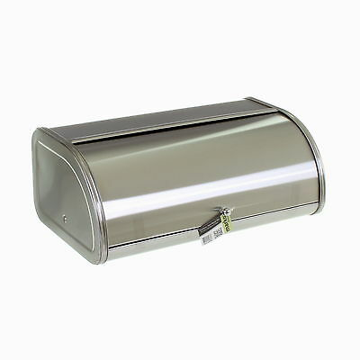 Large Bread Bin Loaf Storage Box Silver Brushed Stainless Steel Metal Container