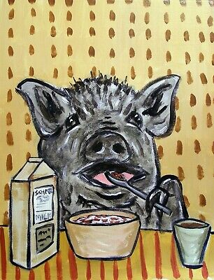 POT BELLIE PIG PEAR THIEF animal  art print 11x14 artwork modern gift