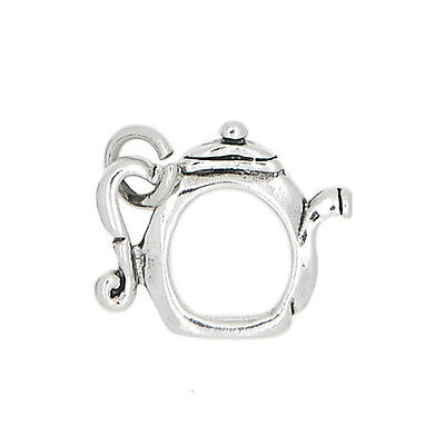 Silver Double Sided Open Center Tea Kettle Pot Charm Or Pendant