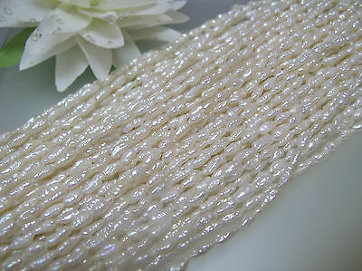 3 strands loose white vintage freshwater narrow long Rice pearl 2.5-3 x 7mm