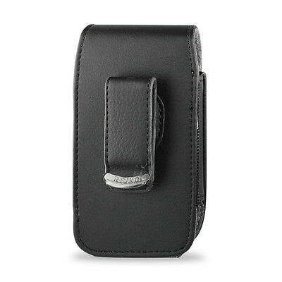 Leather Pouch Cover Holster Case Side Clip w Belt Loop - Vertical Style