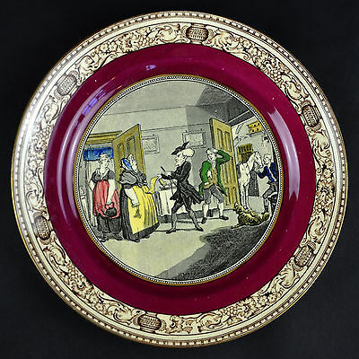 Doctor Syntax Collector Plate Adams England Disputing His Bill with the Landlady