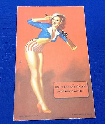 Mutoscope Vintage 1940's Pin Up Card Don't Try Any Pincer Movements On Me