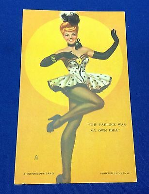 Mutoscope Vintage 1940's Pin Up Card The Padlock Was My Own Idea