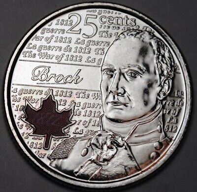 Canada 2012 Coloured Brock 25 cents Nice UNC from roll - BU Canadian Quarter