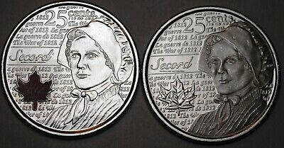 Canada 2013 Regular and Coloured Secord 25 cents Nice - BU Canadian Quarters