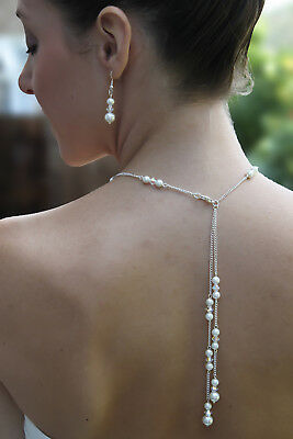 Beautiful Bridal Backdrop Neckless Lariat  -  Made with Swarovski Crystals