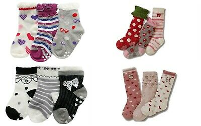 Girls 3p Stripes Polka Dots Pink Purple Socks Age 1 2 3 4 5 6 7 Normal/Anti-slip