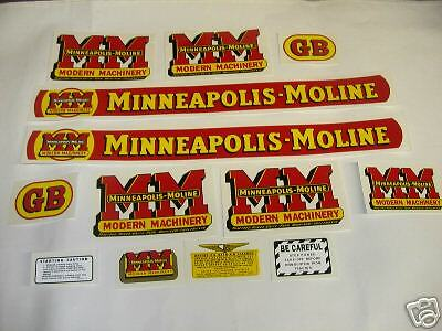 Minneapolis Moline Model GB Tractor Decal Set  - NEW FREE SHIPPING