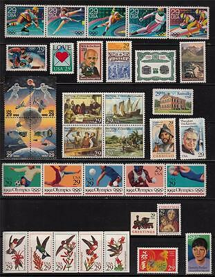 1992 US  COMMEMORATIVE YEAR SET 63 STAMPS MNH Incl WW II SHEET