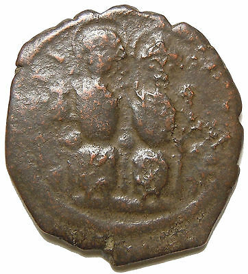 Justin II & Queen Sophia AE Follis Large M Ancient Byzantine Coin Nicomedia Mint
